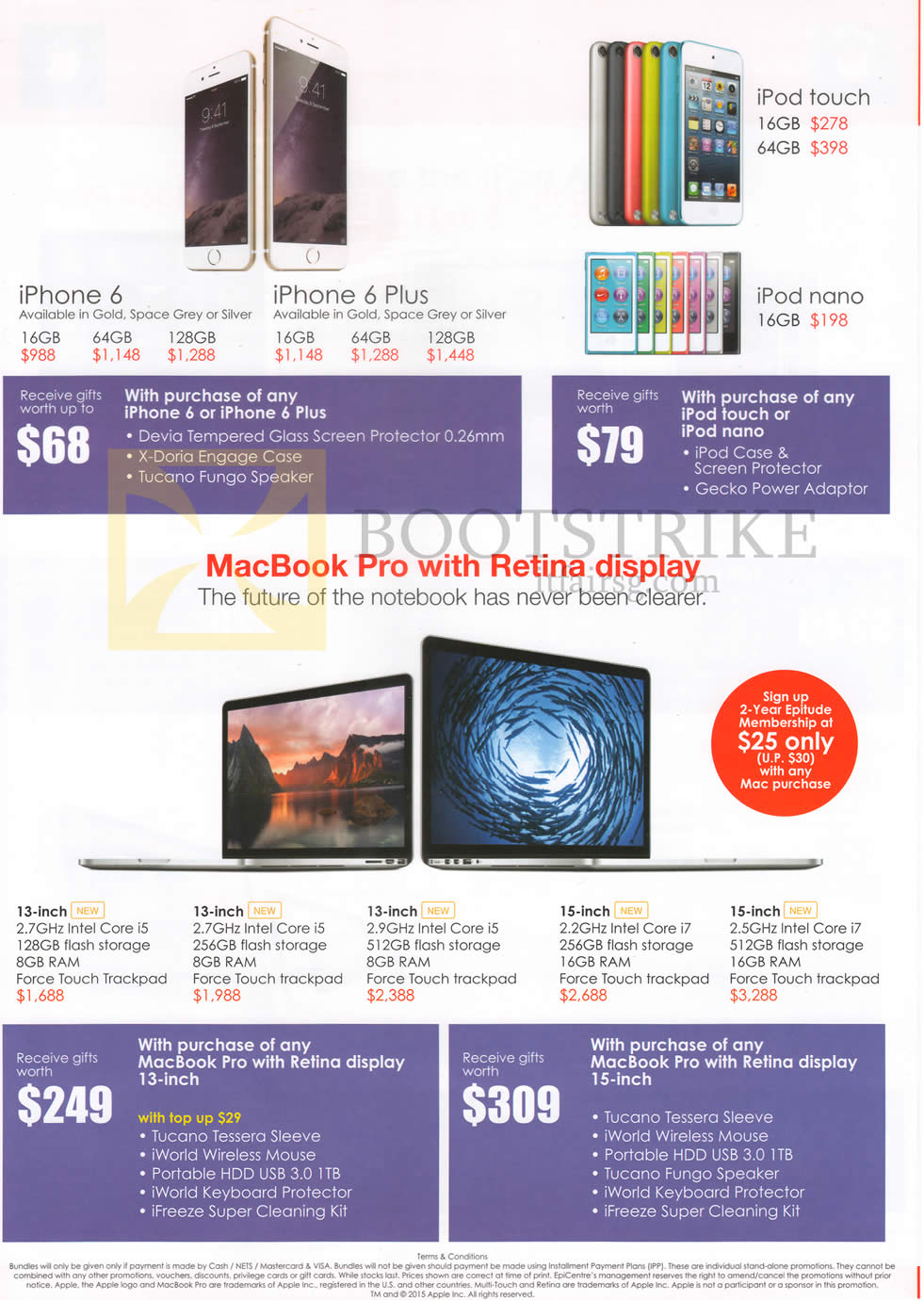 PC SHOW 2015 price list image brochure of EpiCentre Apple IPhone 6, IPhone 6 Plus, IPod Touch, IPod Nano, MacBook Pro, Purchase With Purchase