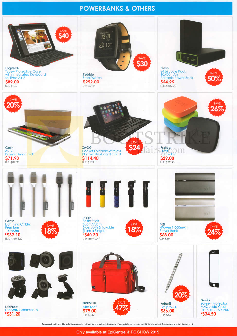 PC SHOW 2015 price list image brochure of EpiCentre Powerbanks, Lightning Cables, Keyboard Stand, Cases, LifeActiv Accessories, Devia Screen Protector