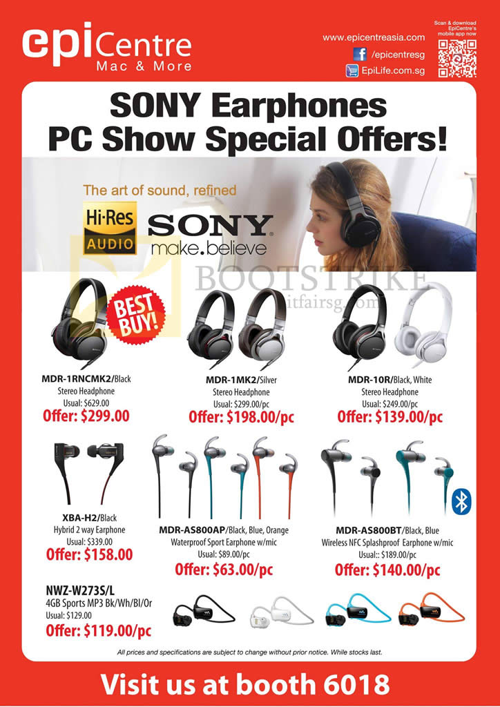 PC SHOW 2015 price list image brochure of Epicentre Sony Earphones Headphones MDR-1RNCMK2, 1MK2, 10R, XBA-H2, AS800AP, AS800BT, NWZ-W273S