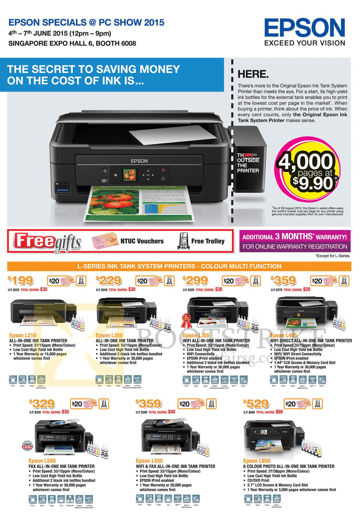 Epson Printers L Series Ink Tank System L210 L350 L355
