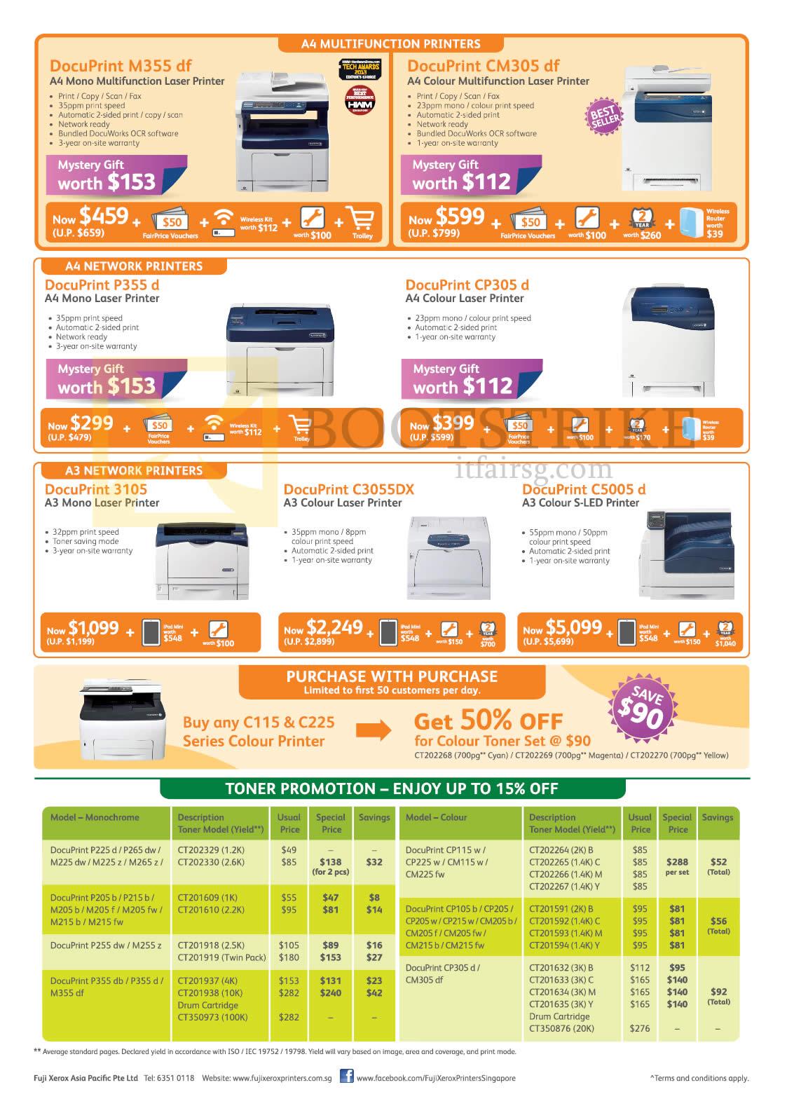 Fuji Xerox Printers Laser, Toner, DocuPrint M355df, CM305df