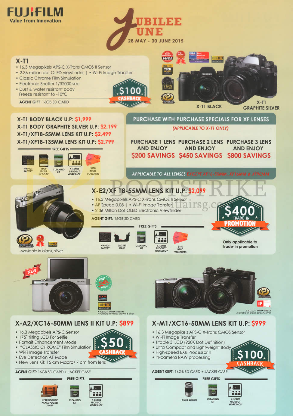 PC SHOW 2015 price list image brochure of Fujifilm Digital Cameras X-T1, X-E2, X-A2, X-M1