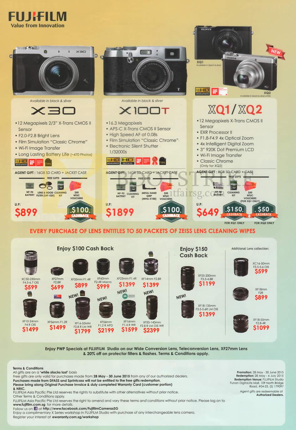 Fujifilm Digital Cameras X30, X100T, XQ1, XQ2, Lenses. Lens Cleaning Wipes