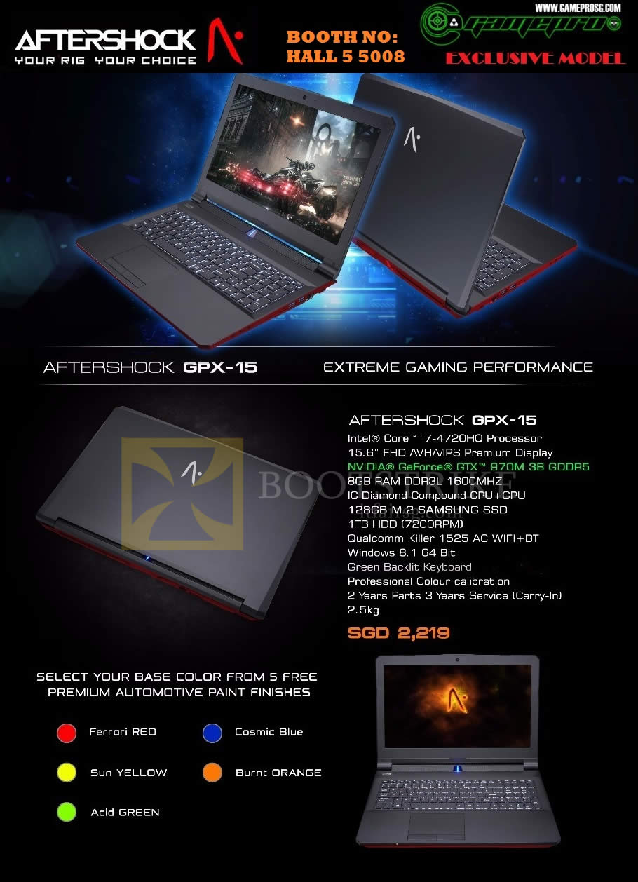 PC SHOW 2015 price list image brochure of Gamepro Aftershock GPX-15 Notebook