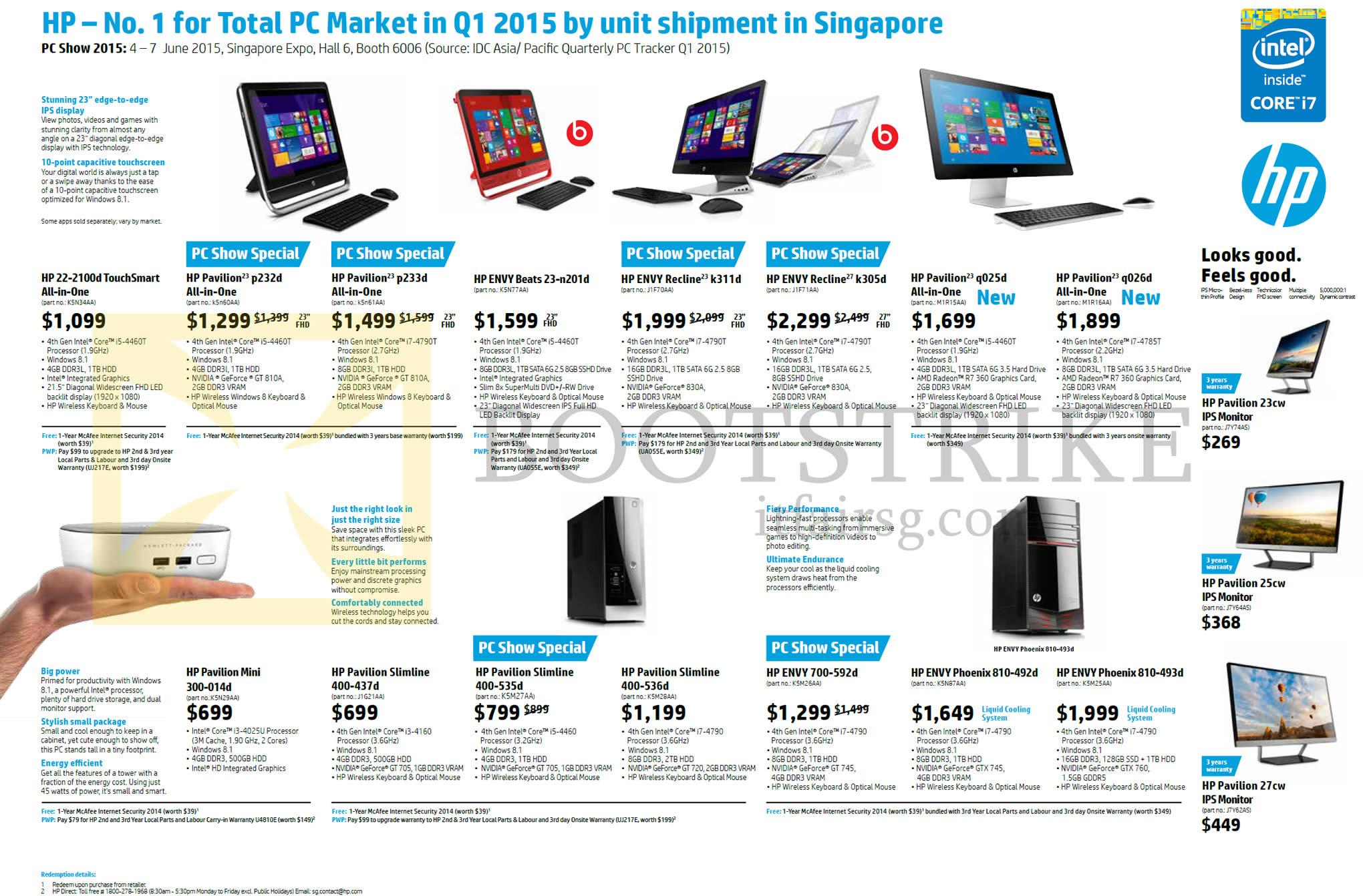 Hp notebook desktop - Pc Show 2015 Price List Image Brochure Of Hp Desktop Pcs Pavilion Touchsmart Envy