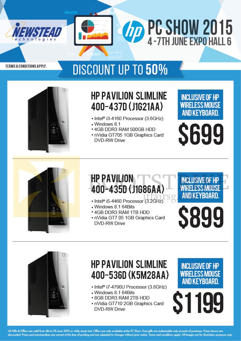 PC SHOW 2015 price list image brochure of HP Newstead Desktop PCs Pavilion Slimline 400-437D J1G21AA, 400-435D J1G86AA, 400-536D K5M28AA