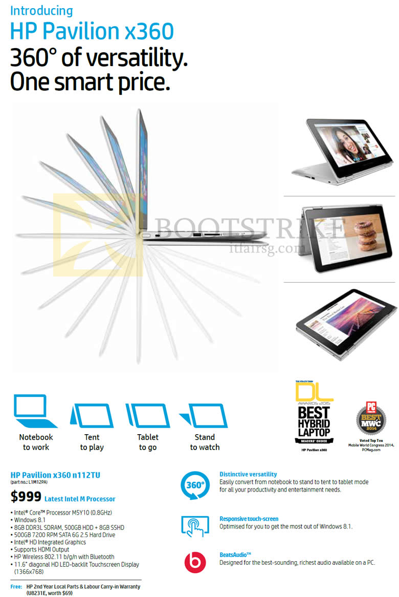 PC SHOW 2015 price list image brochure of HP Notebook Pavilion X360 N112TU