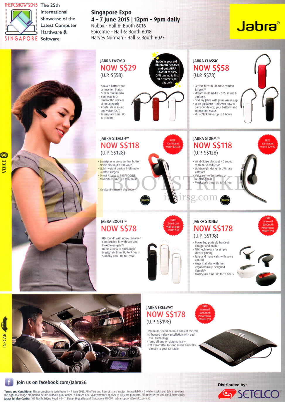 PC SHOW 2015 price list image brochure of Jabra Bluetooth Headsets Easygo, Classic, Stealth, Storm, Boost, Stone 3, Freeway