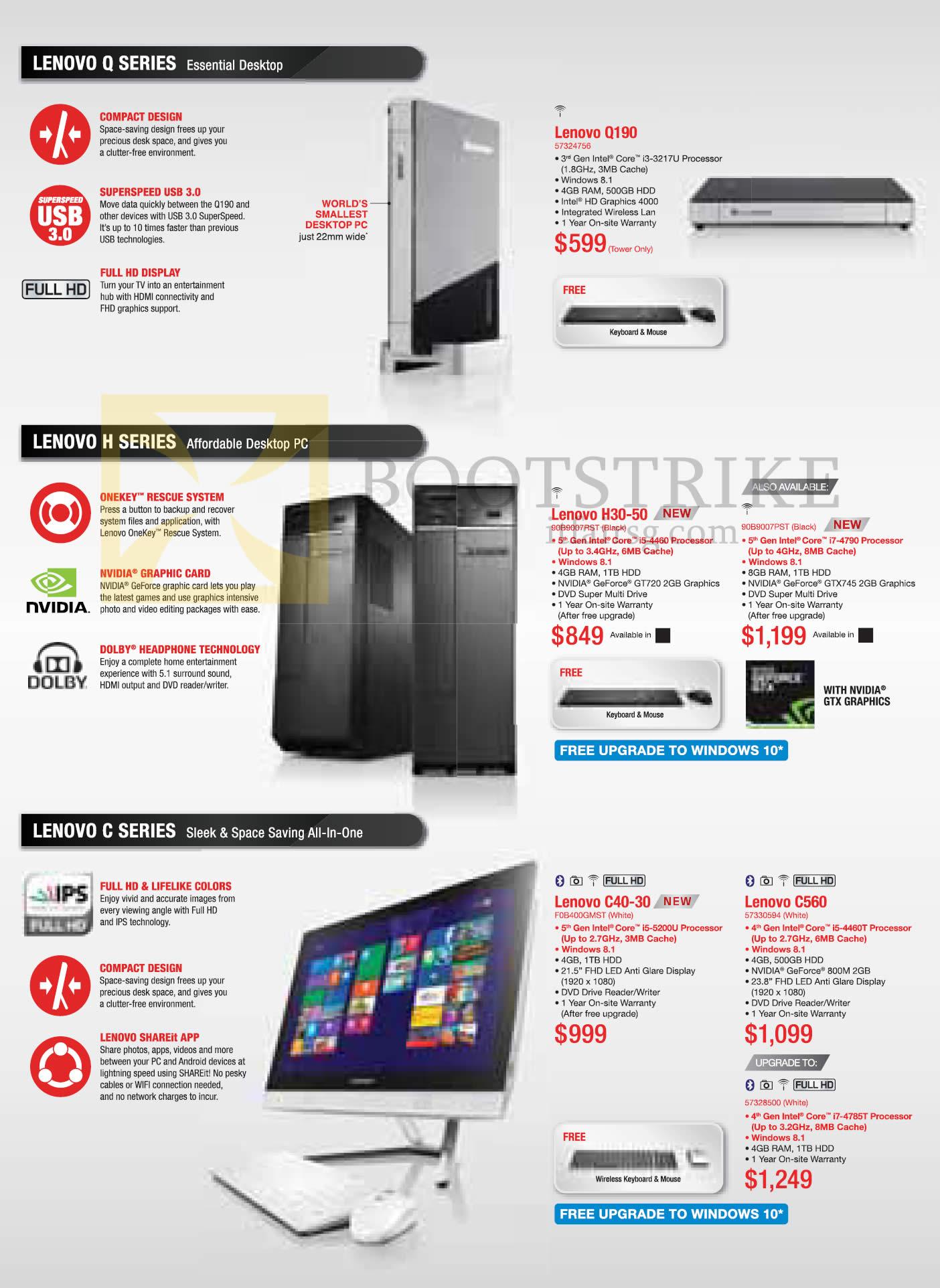 PC SHOW 2015 price list image brochure of Lenovo Desktop PCs Q190, H30-50, C40-30, C560