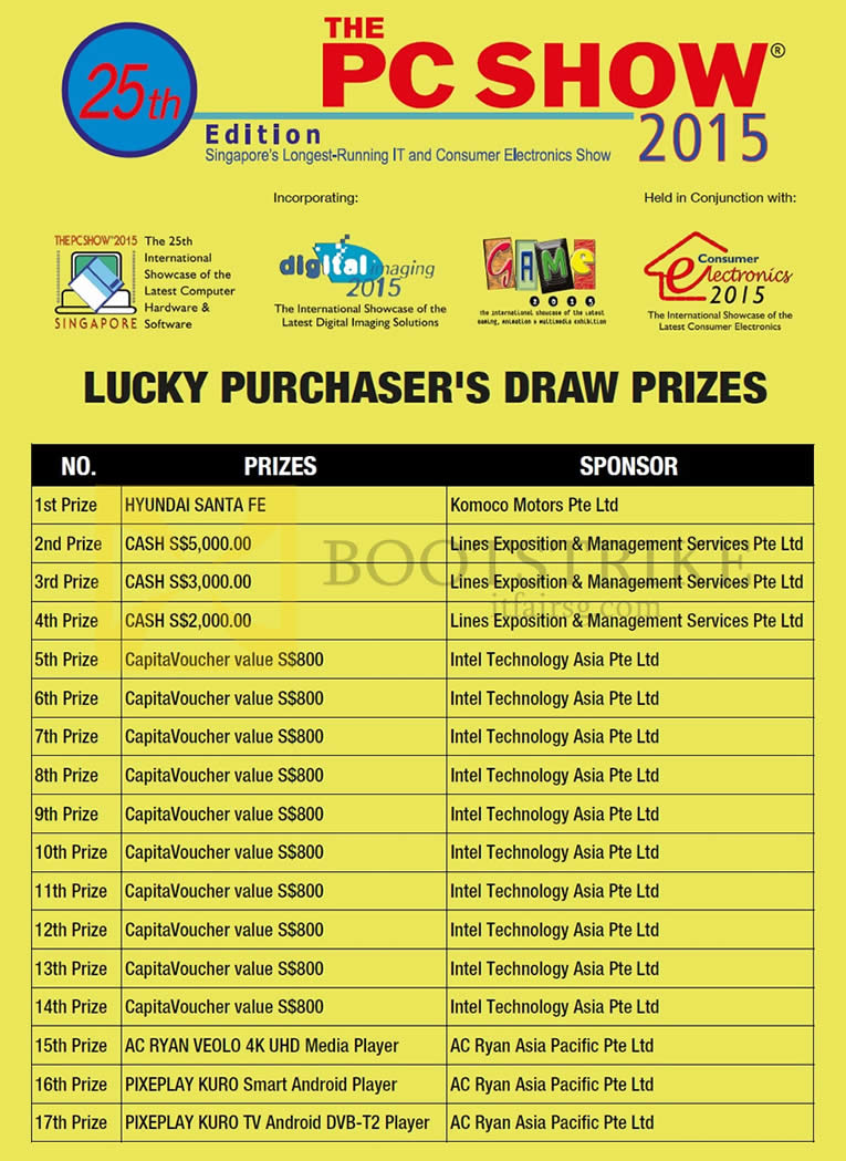 PC SHOW 2015 price list image brochure of Lucky Draw Prizes