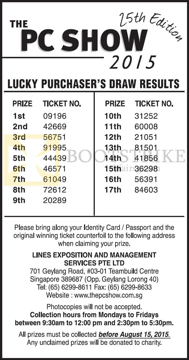 PC SHOW 2015 price list image brochure of Lucky Draw Results