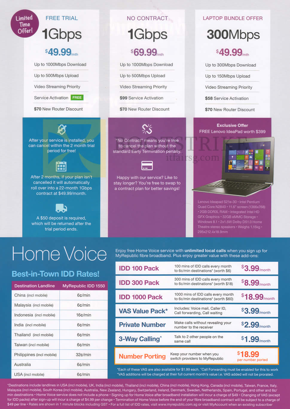 PC SHOW 2015 price list image brochure of MyRepublic 1Gbps Free Trial, No Contract, 300Mbps Laptop Bundle Offer, Home Voice