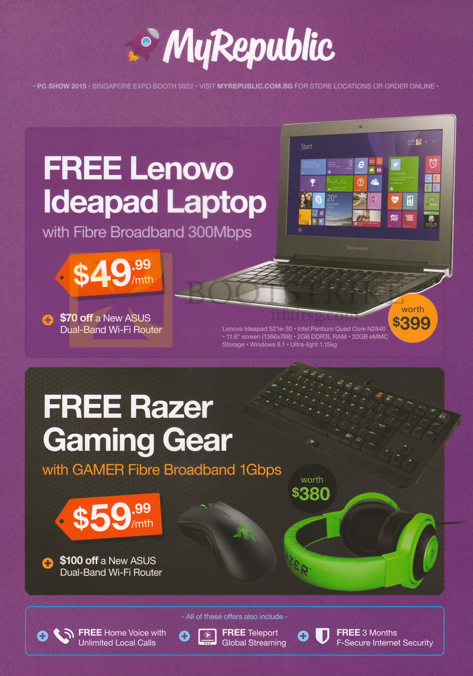 PC SHOW 2015 price list image brochure of MyRepublic Fibre Broadband 300Mbps 49.99. Gamer Fibre Broadband 1Gbps 59.99