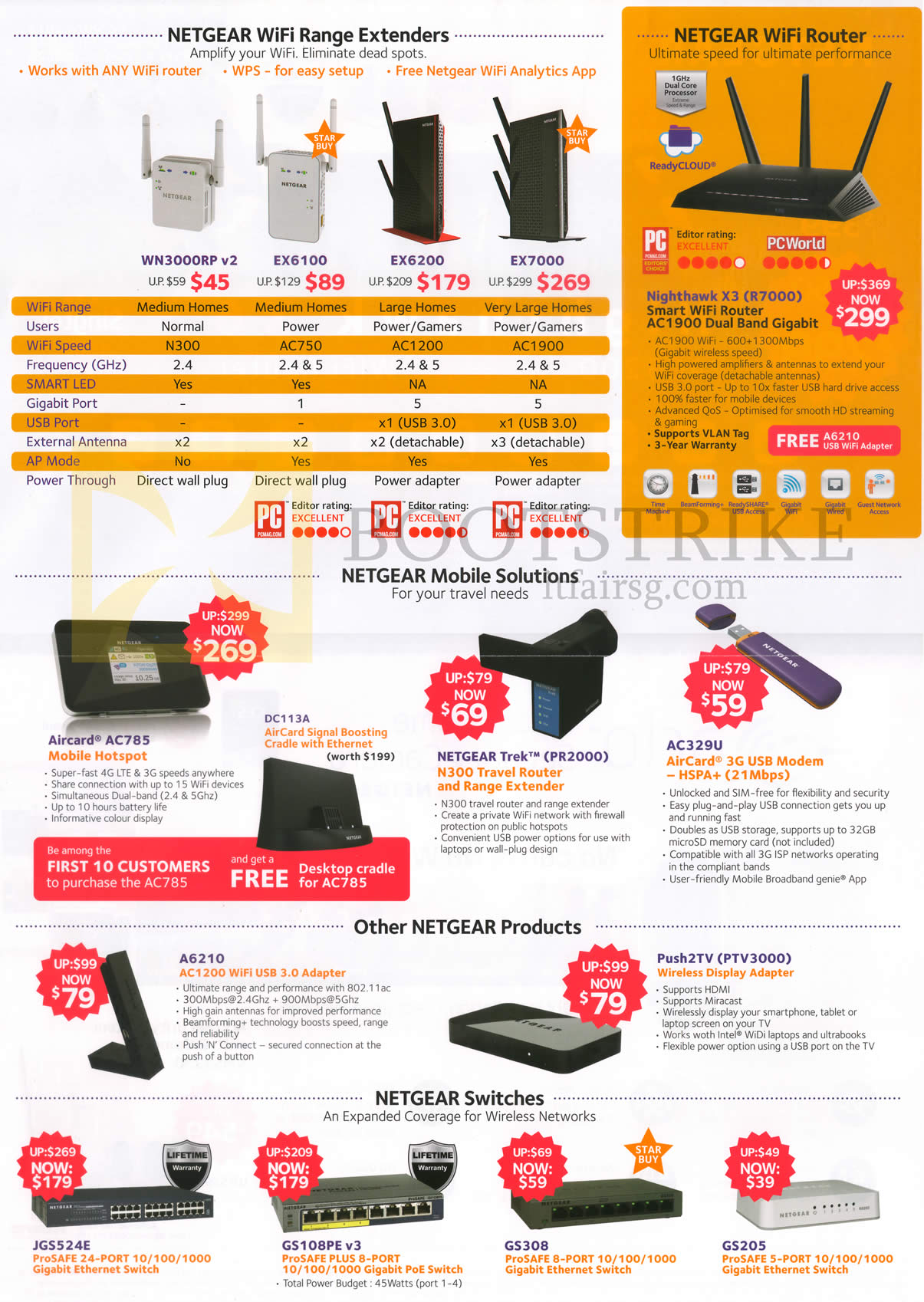 PC SHOW 2015 price list image brochure of Netgear Networking Wifi Range Extenders, Wifi Router, Switches, Mobile Solutions