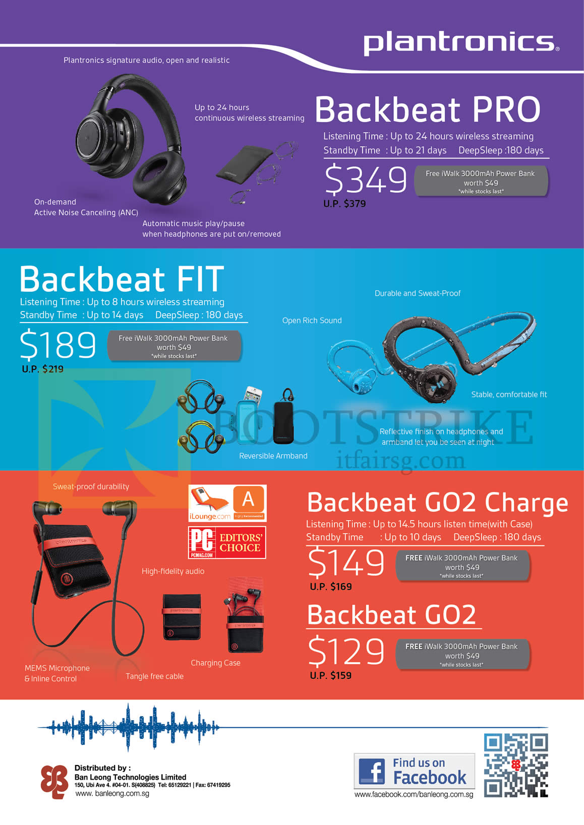 PC SHOW 2015 price list image brochure of Plantronics Bluetooth Headsets Backbeat Pro, Fit, Go2 Charge, Go2