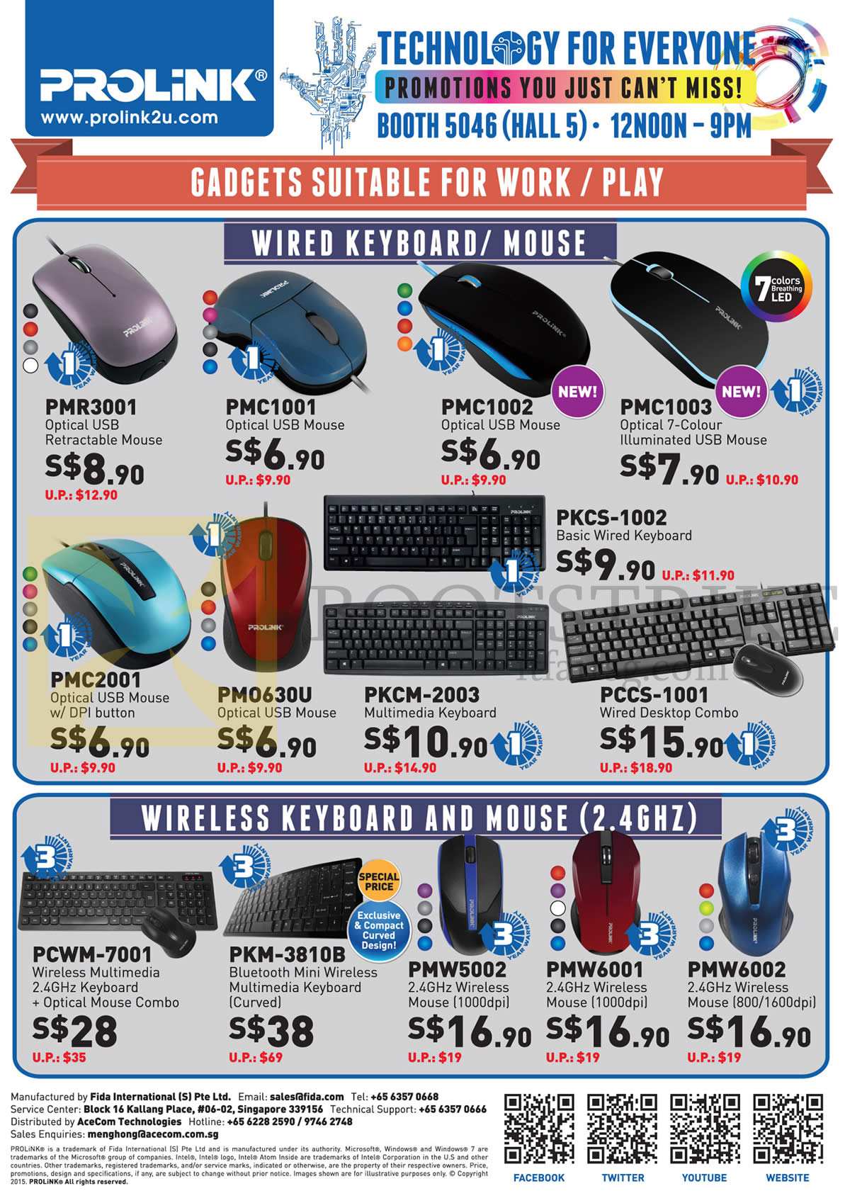 PC SHOW 2015 price list image brochure of Prolink Accessories Keyboard, Mouse, Wireless, USB