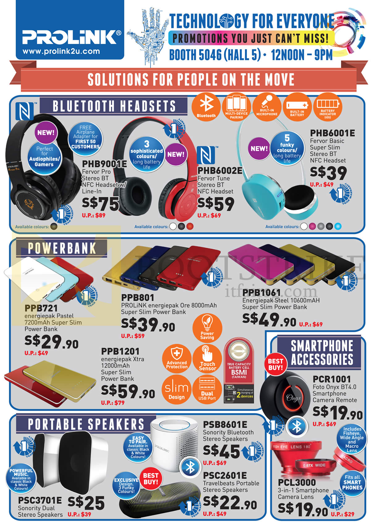 PC SHOW 2015 price list image brochure of Prolink Bluetooth Headsets, Powerbank, Smartphone Accessories, Portable Speakers