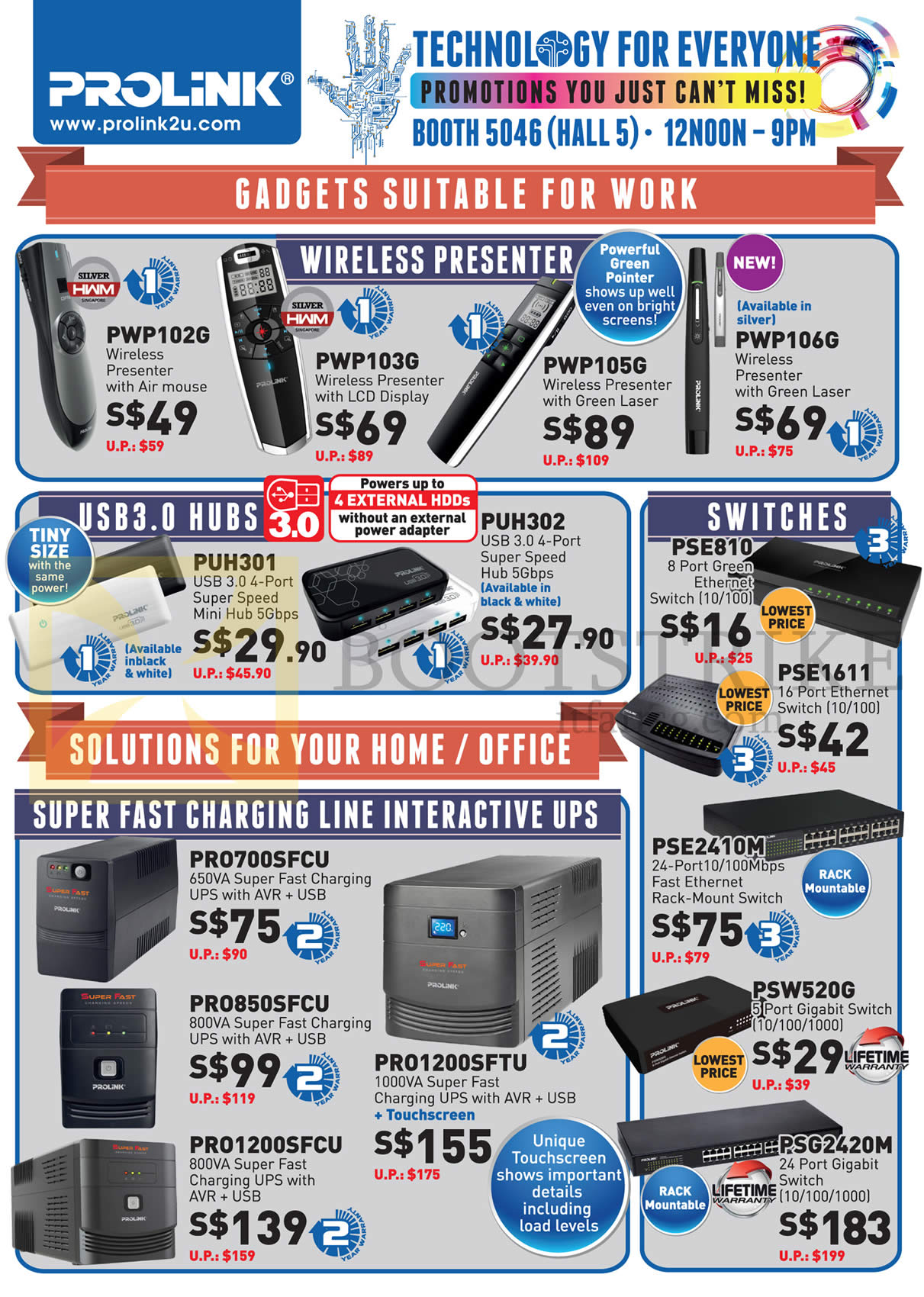 PC SHOW 2015 price list image brochure of Prolink Wireless Presenter, USB3.0 Hubs, Switches, UPS, PWP102G, PWP103G, PWP105G, PUH302, PUH301, PRO700SFCU