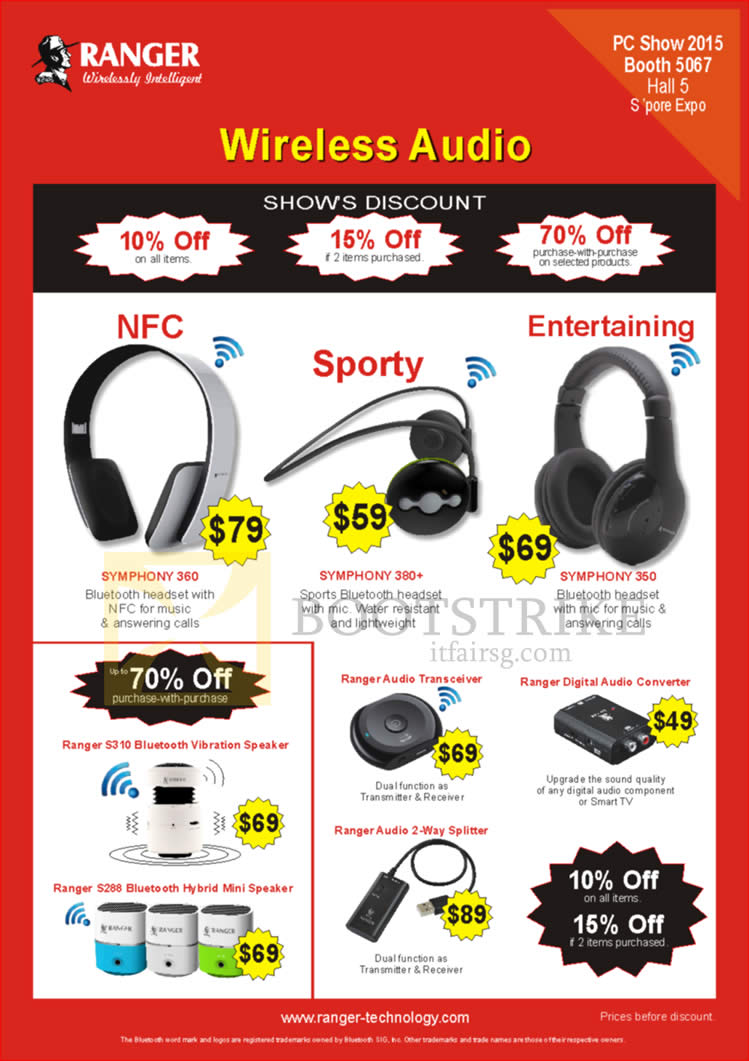 PC SHOW 2015 price list image brochure of Ranger Wireless Headsets, Symphony 360 380 Plus 350, Audio Transceiver, Digital Audio Converter, Splitter