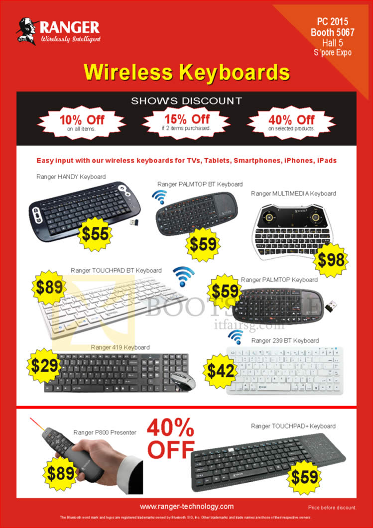 PC SHOW 2015 price list image brochure of Ranger Wireless Keyboards, Handy Palmtop Multimedia Touchpad, P800 Presenter