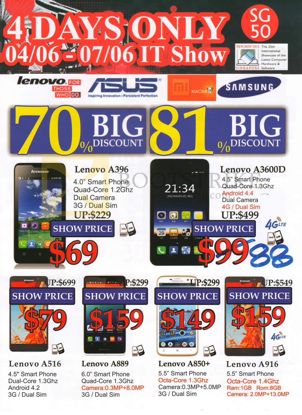 PC SHOW 2015 price list image brochure of SGVideopro Mobile Phones Lenovo, A396, A3600D, A516, A889, A850, A916