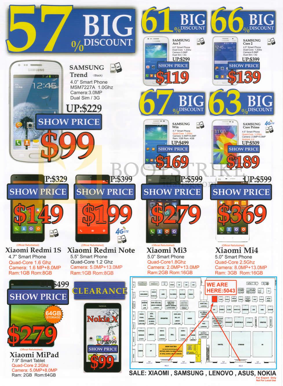 PC SHOW 2015 price list image brochure of SGVideopro Mobile Phones Samsung Trend, Ace 3, Core 3, Win, Core Prime, Xiaomi Redmi, Note, Mi3, Mi4, MiPad, Nokia X