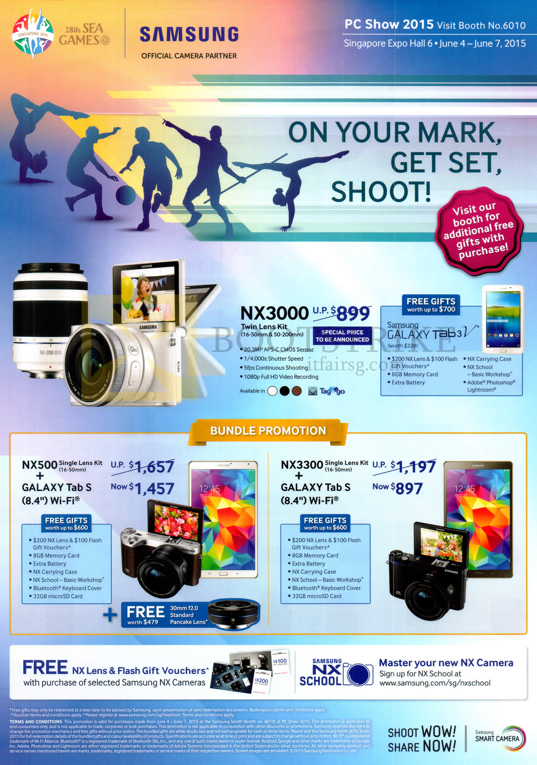 Samsung Digital Cameras Nx3000 Nx500 Nx3300 Free Galaxy Tab 3v Pc Show 2015 Price List Image Brochure Of
