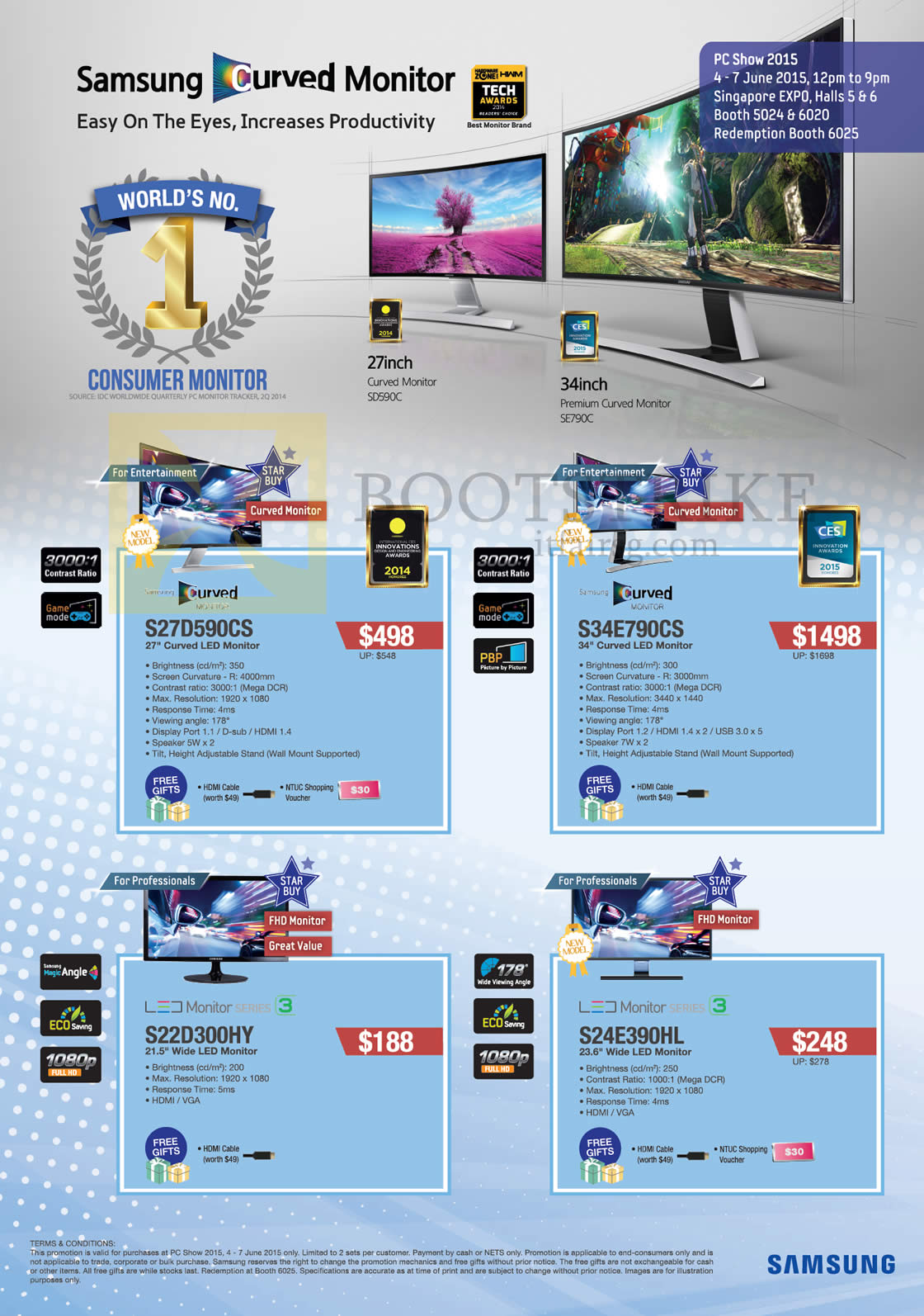 PC SHOW 2015 price list image brochure of Samsung Monitors LED Curved S27D590CS, S34E790CS, S22D300HY, S24E390HL