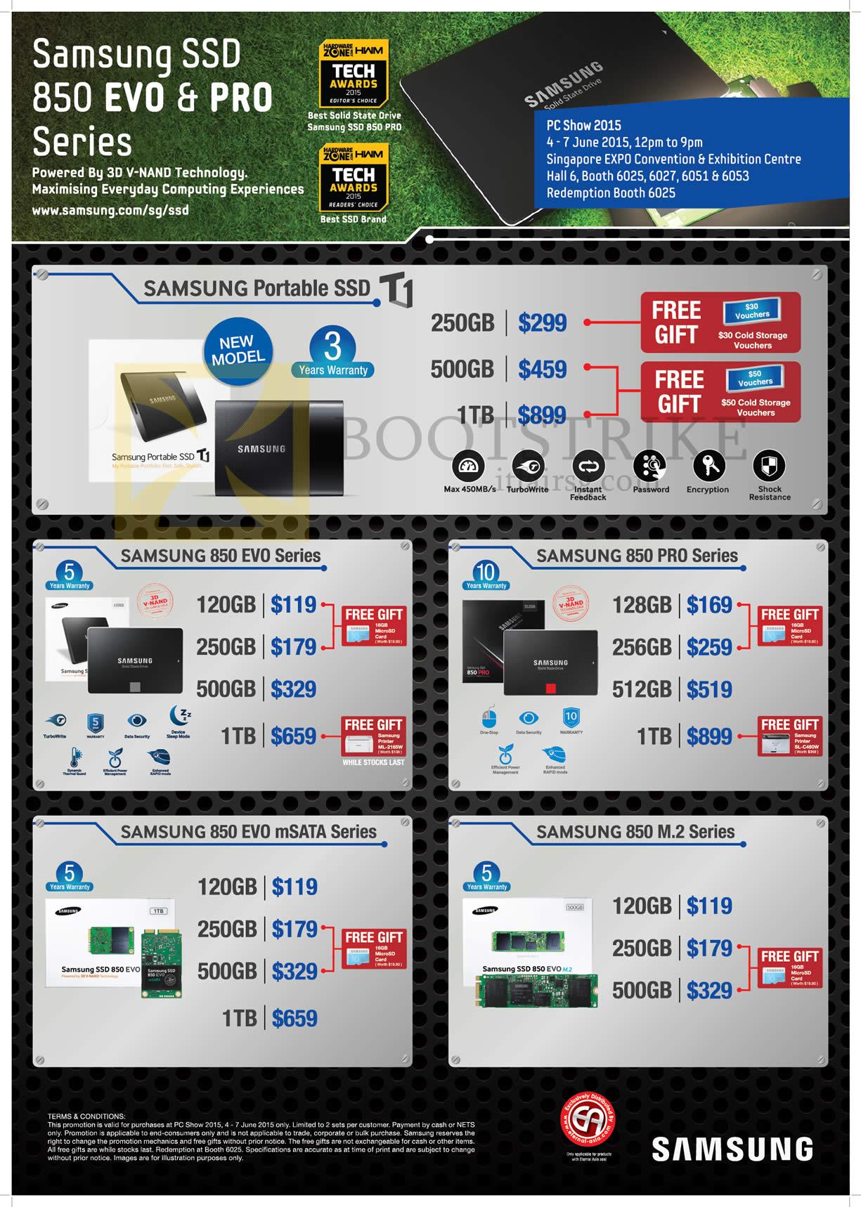 PC SHOW 2015 price list image brochure of Samsung SSD Portable, 850 Evo, Pro, MSATA, M2, 120GB 250GB 500GB 512GB 1TB
