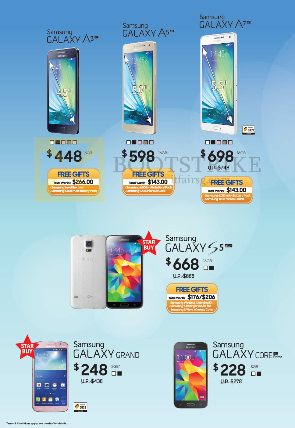 PC SHOW 2015 price list image brochure of Samsung Smartphones Galaxy A3, A5, A7, S5. Grand, Core