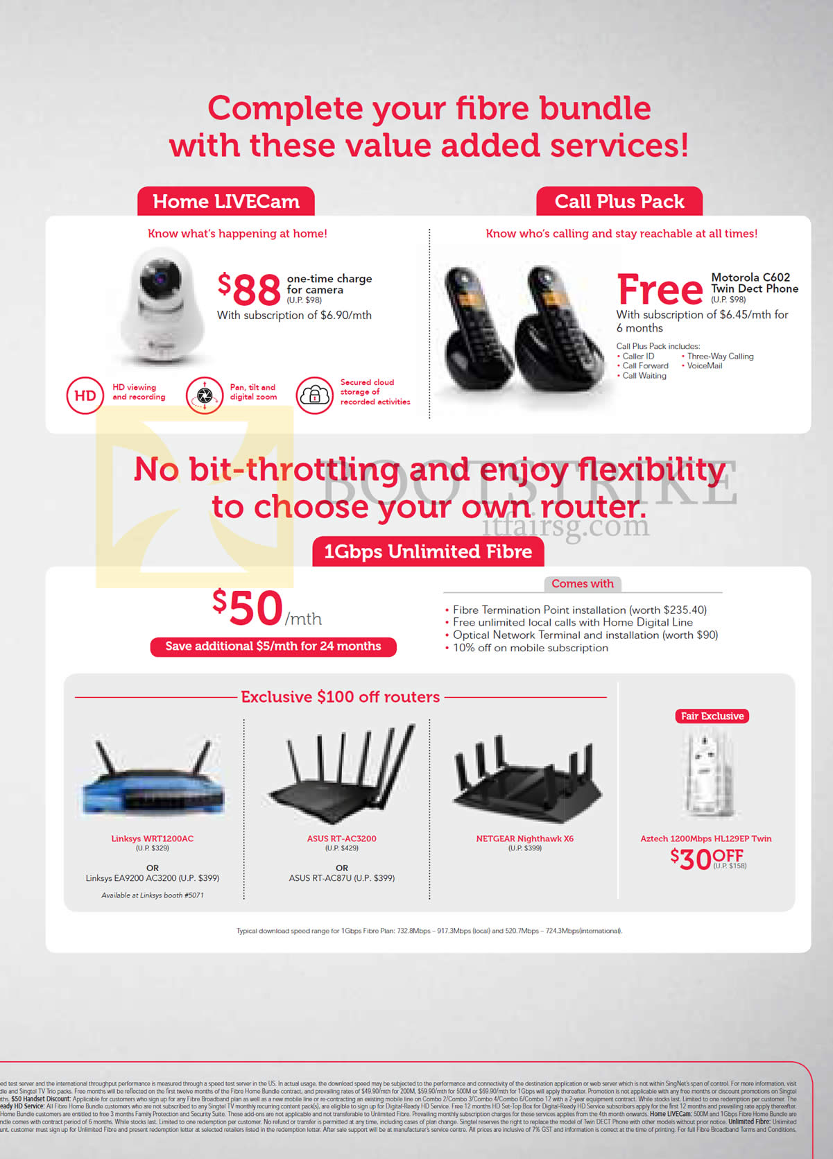 PC SHOW 2015 price list image brochure of Singtel 1Gbps Unlimited Fibre 50.00, Routers, Fibre Addons Home Livecam, Call Plus Pack