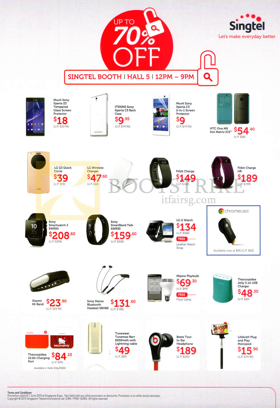 PC SHOW 2015 price list image brochure of Singtel Accessories Cases, Chargers, Fitbit Charge, Sony Smartwatches, LG G Watch, Bluetooth Headset, USB Charger, Charging Port, Lightning Cables, Beats Headphones, Monopod
