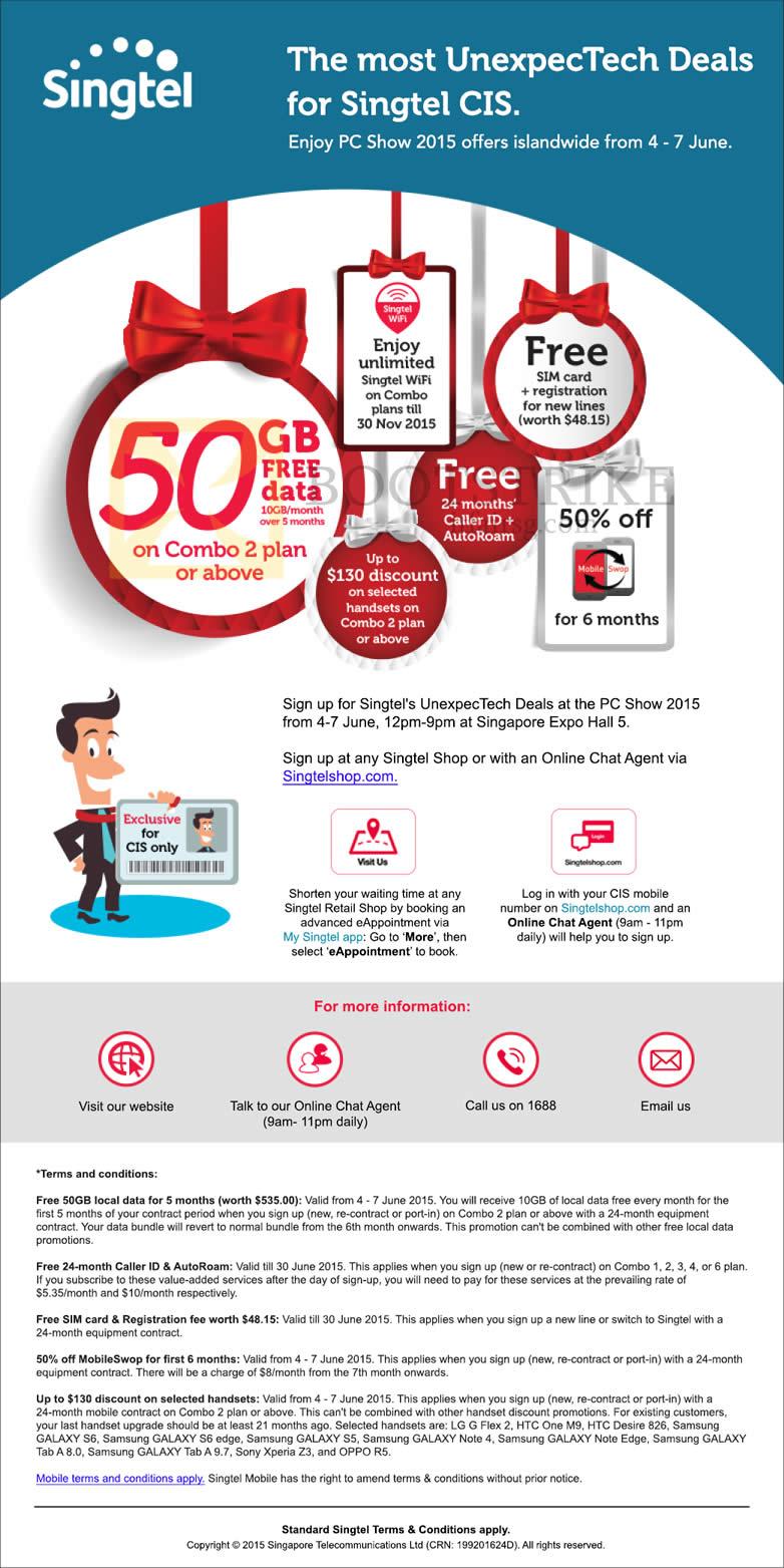 PC SHOW 2015 price list image brochure of Singtel CIS Free 50GB Free Data, Caller ID, AutoRoam, SIM Card, Registration