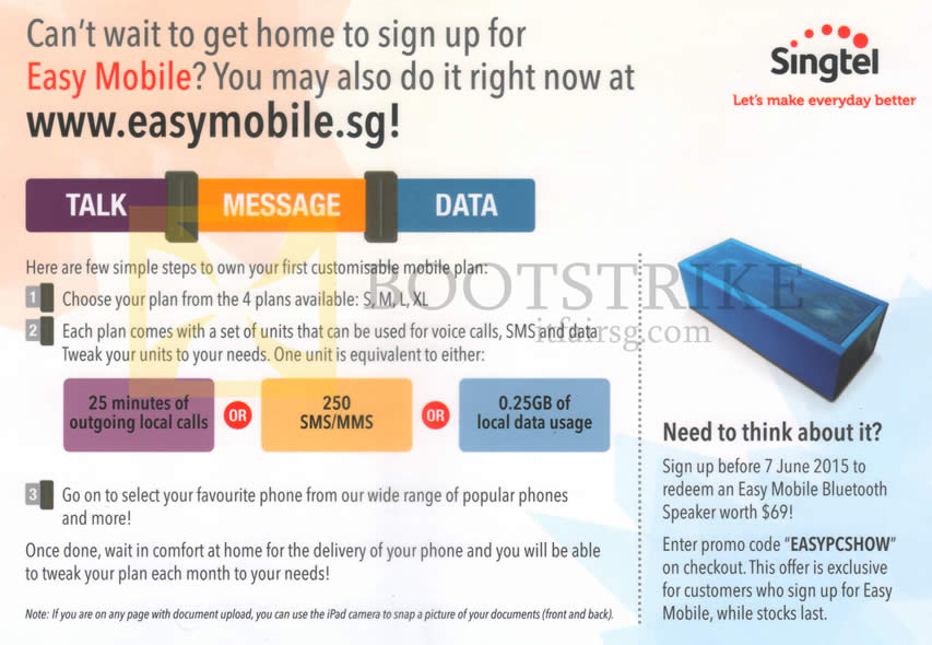 PC SHOW 2015 price list image brochure of Singtel Easymobile Sign-Up