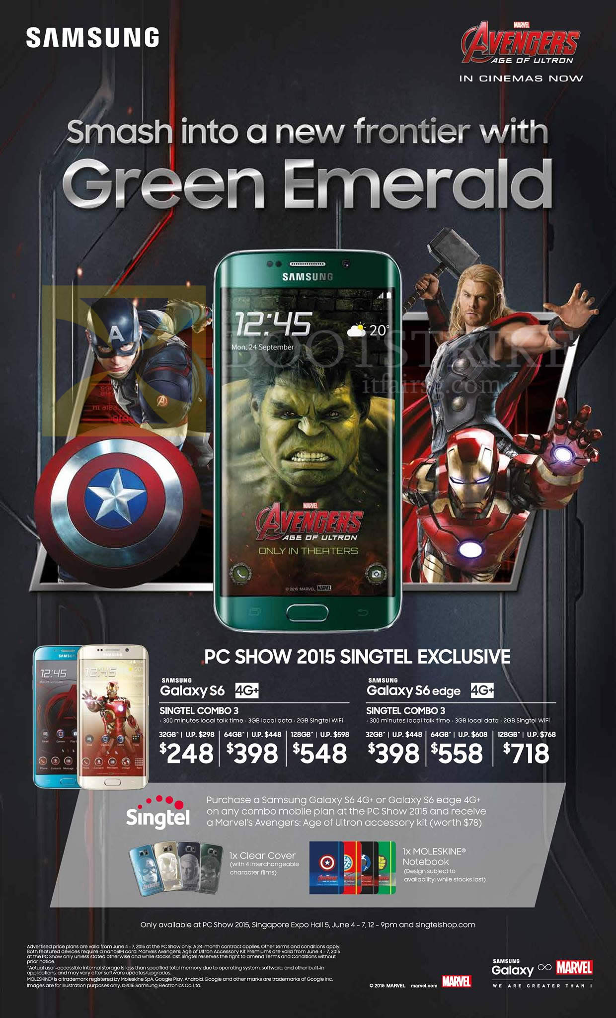 PC SHOW 2015 price list image brochure of Singtel Mobile Samsung Galaxy S6 Green Emerald