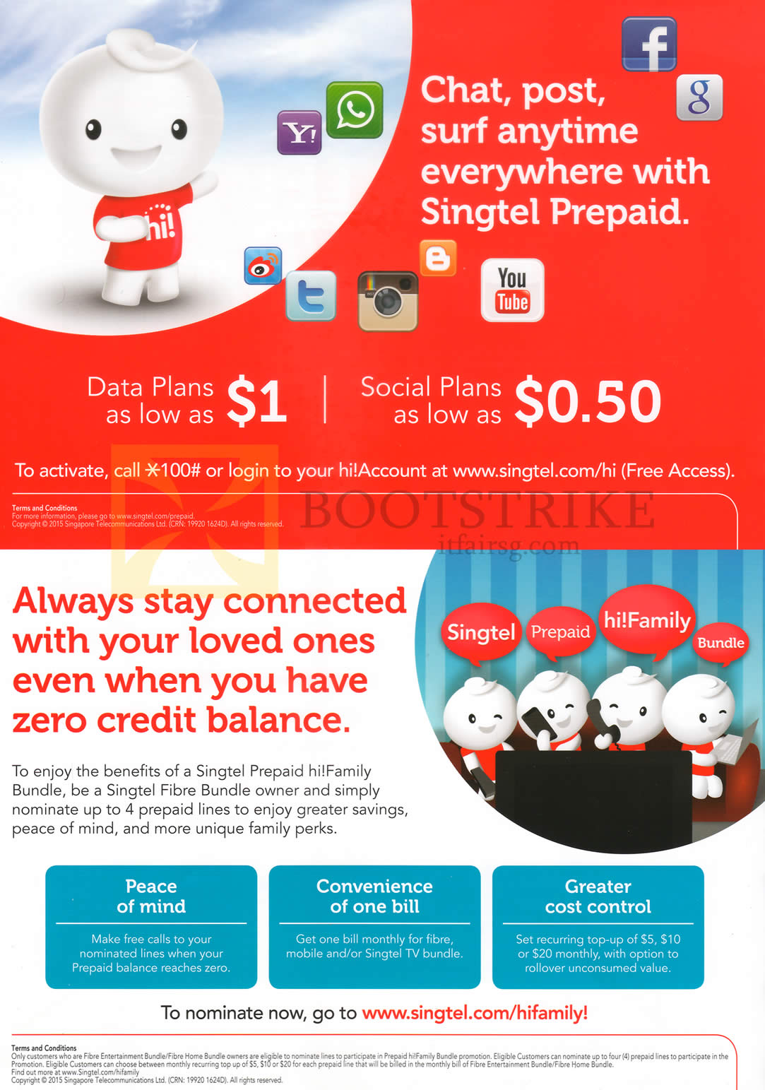 PC SHOW 2015 price list image brochure of Singtel Prepaid Data Plans From 1 Dollar, Social Plans From 50 Cents