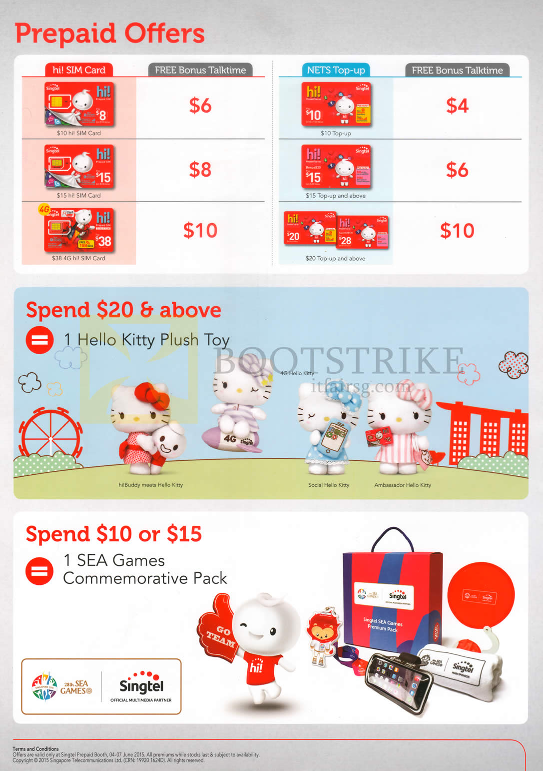 PC SHOW 2015 price list image brochure of Singtel Prepaid SEA Games Commemorative Pack, Hello Kitty