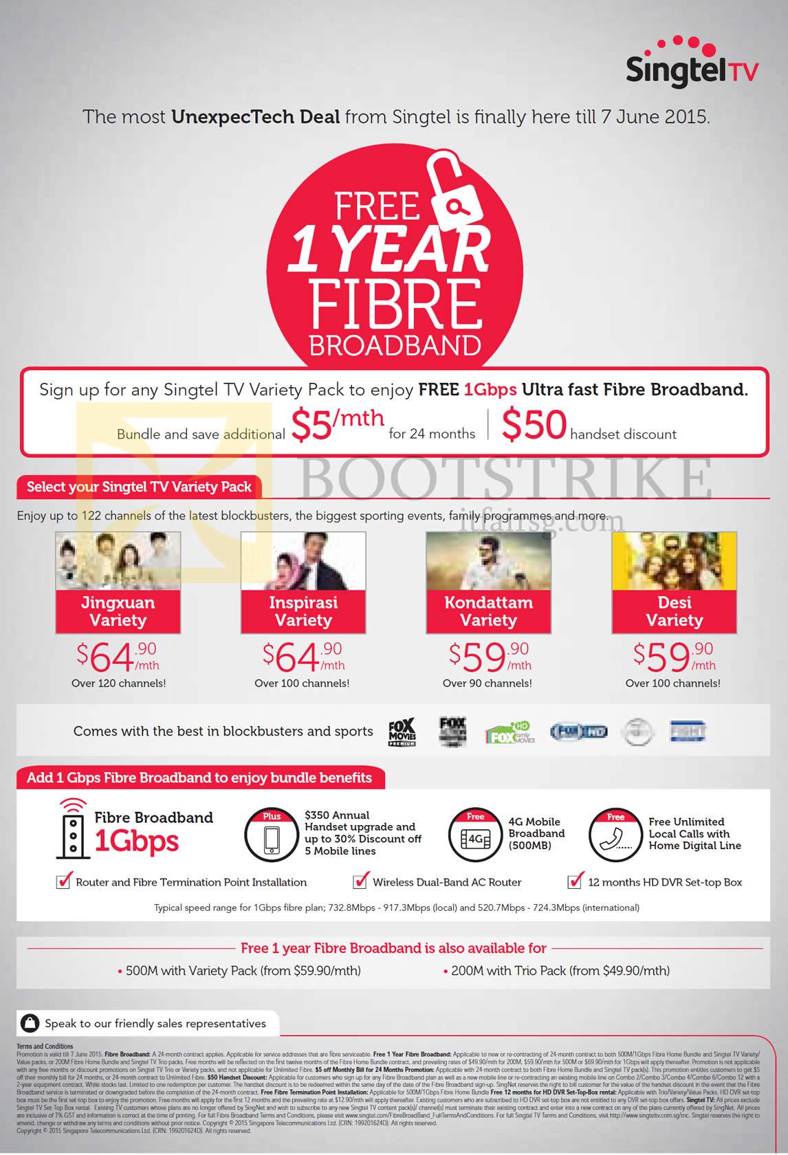 PC SHOW 2015 price list image brochure of Singtel TV Variety Packs Free 1Gbps Fibre Broadband