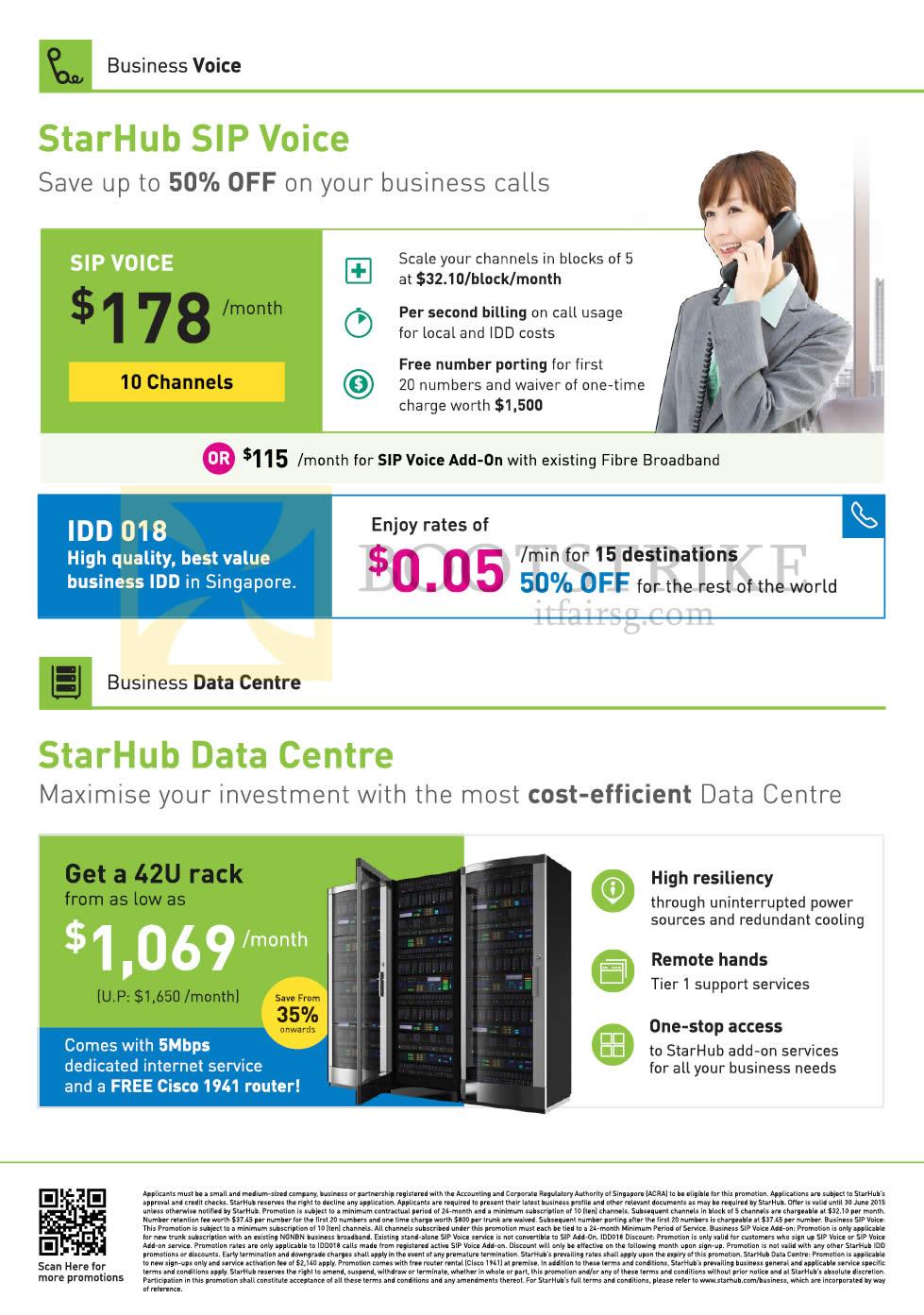 PC SHOW 2015 price list image brochure of Starhub Business SIP Voice, Data Centre