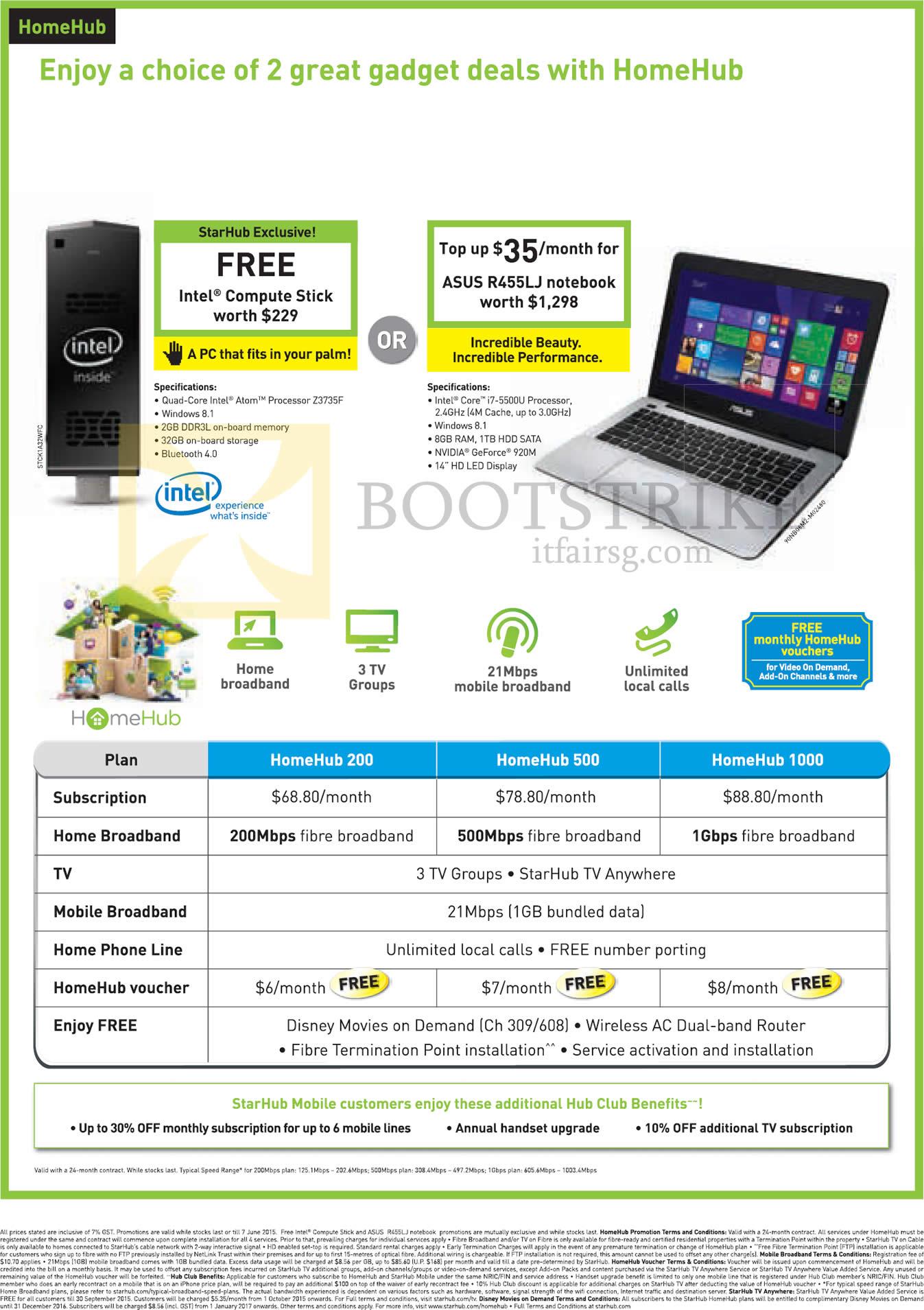Starhub HomeHub 200 500 1000 Free Intel pute Stick ASUS R455LJ