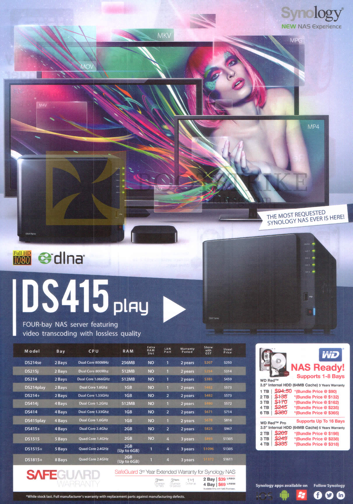 PC SHOW 2015 price list image brochure of Synology DS415 Play NAS Server