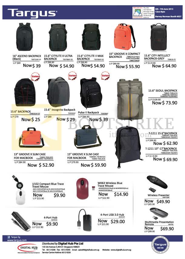 PC SHOW 2015 price list image brochure of Targus Harvey Norman Backpacks, Slim Cases, Mouses, 4 Port Hub, Wireless Presenter, Multimedia Presentation Remote