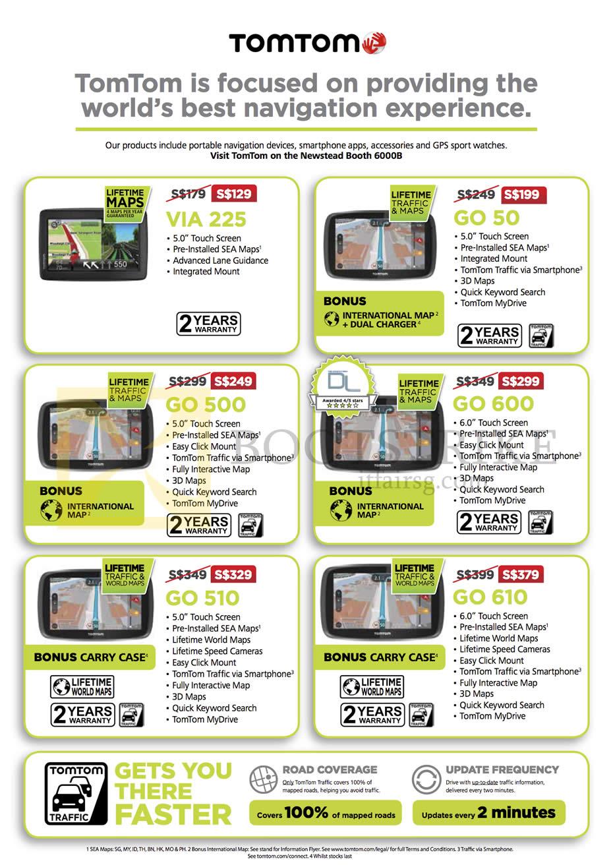 PC SHOW 2015 price list image brochure of TomTom (Newstead) GPS Navigators, VIA 225, GO 50, GO 500, GO 600, GO 510, GO 610