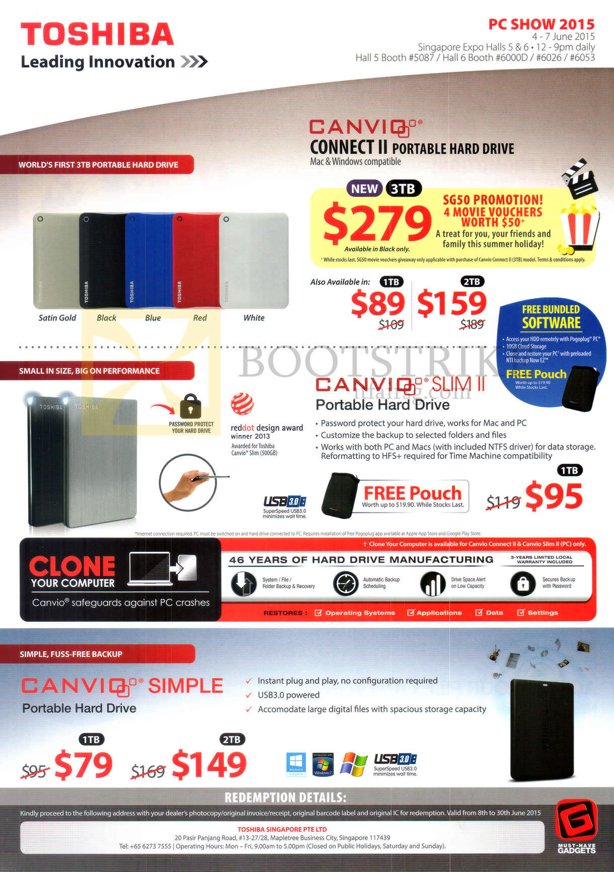 PC SHOW 2015 price list image brochure of Toshiba Hard Disk Drives Connect II 1TB 2TB 3TB, Canvio Slim II, Simple