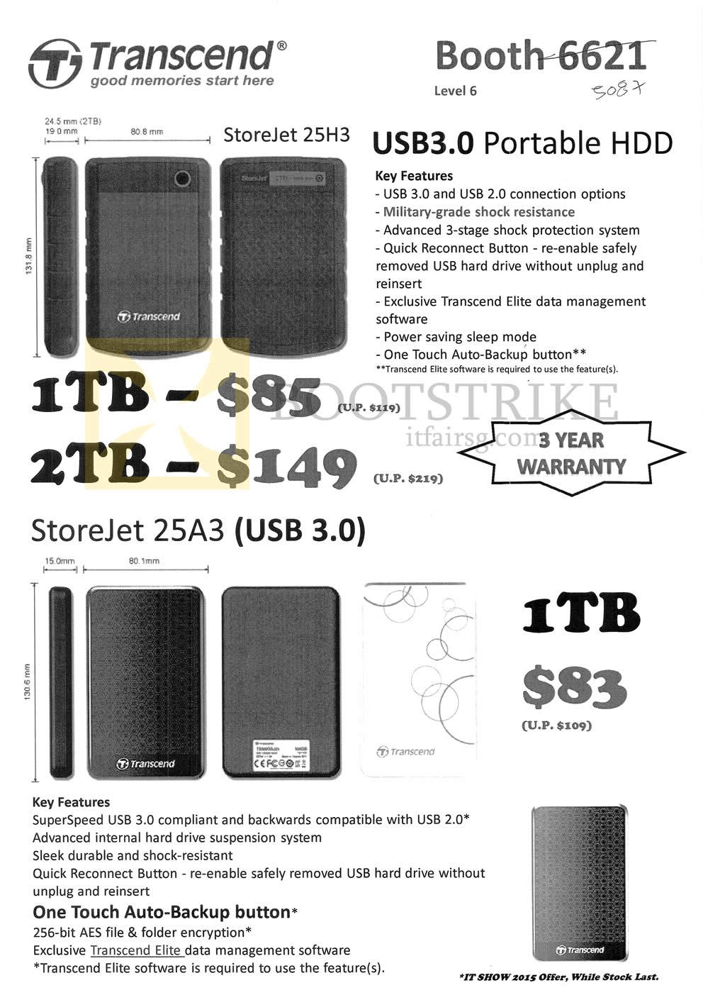 Transcend External Portable Drives Storejet 25h3 25a3 1tb Hardisk Eksternal 2 Tb Pc Show 2015 Price List Image Brochure Of