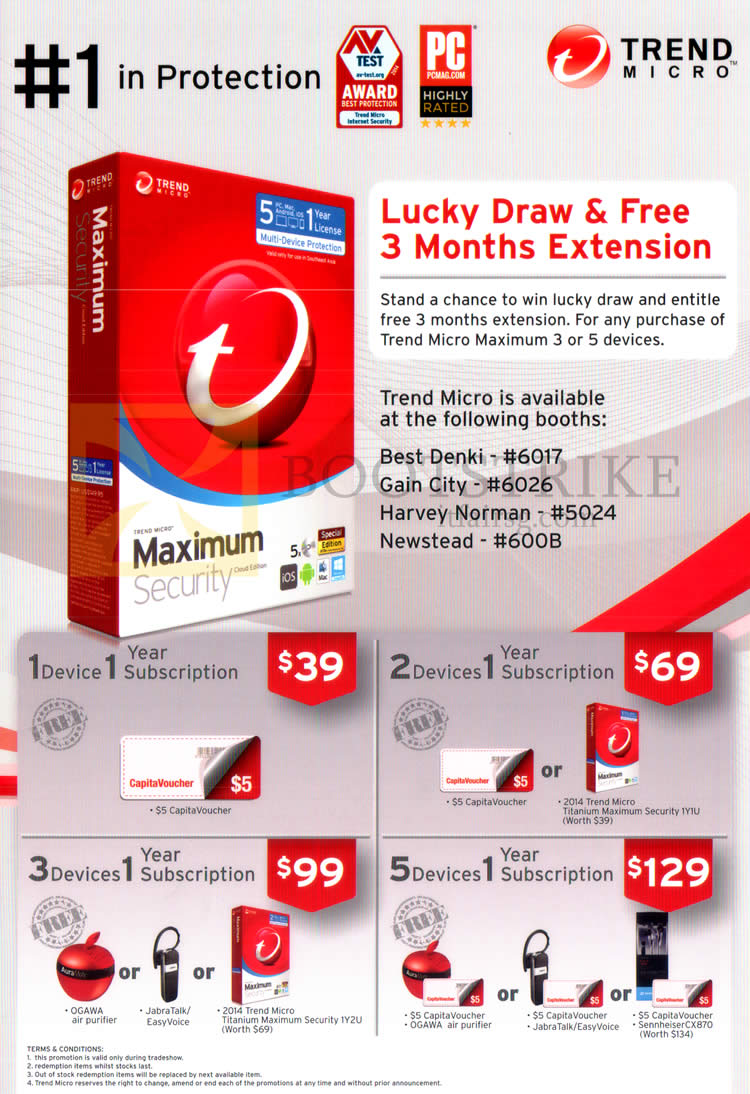 PC SHOW 2015 price list image brochure of Trend Micro Maximum Security Software Devices