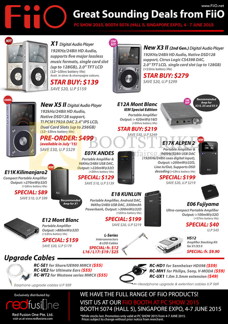 PC SHOW 2015 price list image brochure of Treoo FiiO Digital Audio Players X1, X3 II, X5 II, E12A Mont Blanc, E11K, E07K, E17K, E18, E12, E06