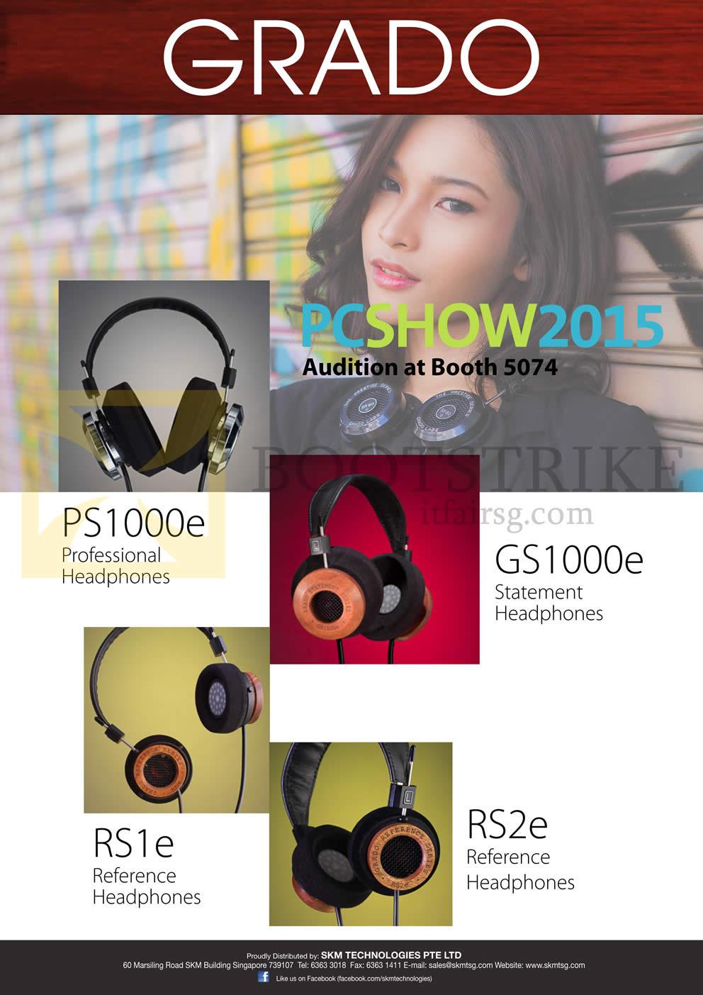 PC SHOW 2015 price list image brochure of Treoo Grado Headphones PS1000e RS1e GS1000e RS2e