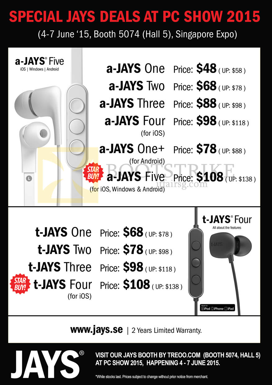PC SHOW 2015 price list image brochure of Treoo Jays, A-Jays One Two Three Four Plus Five, T-Jays