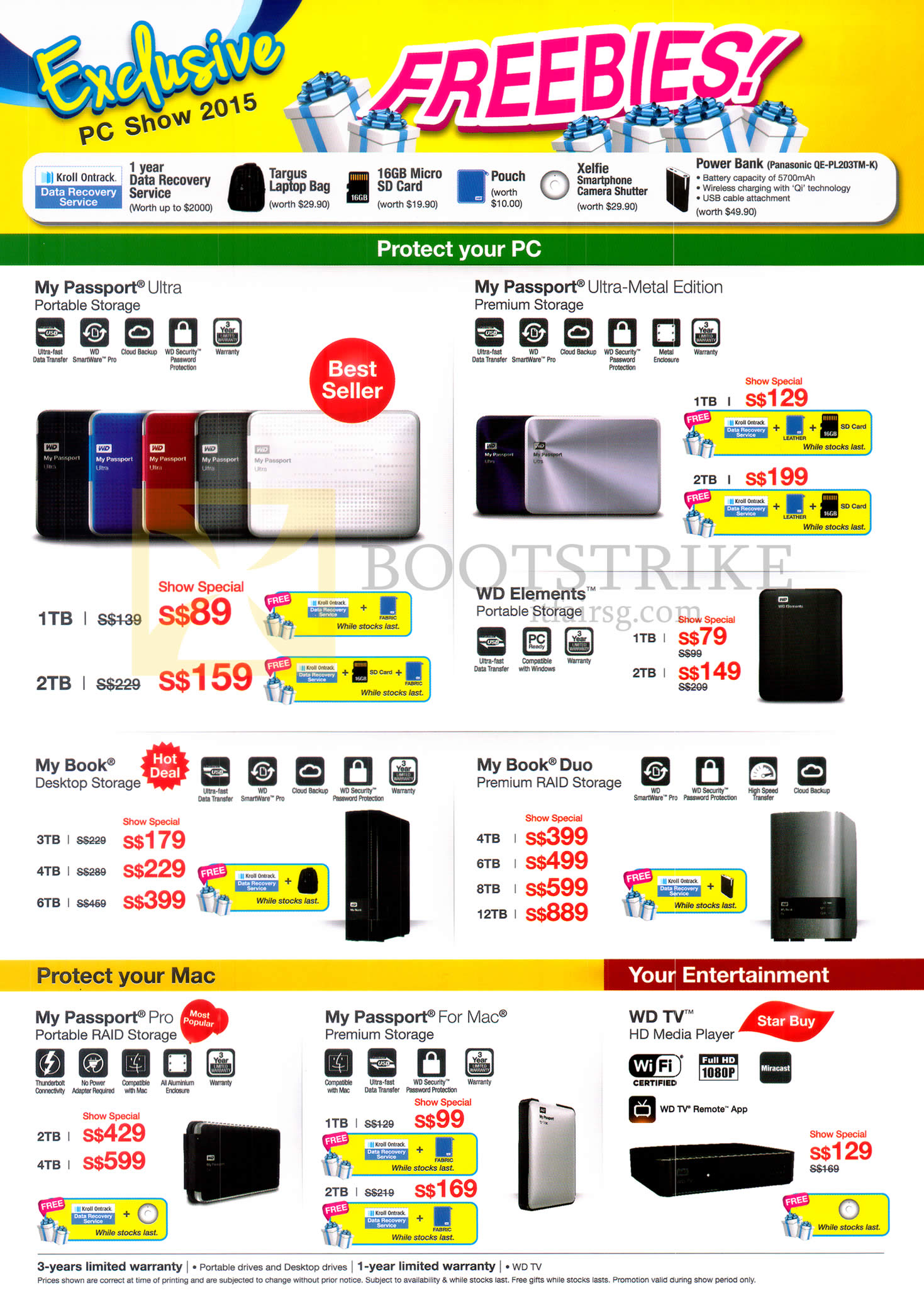 PC SHOW 2015 price list image brochure of Western Digital WD External Storage My Passport Ultra, Ultra-Metal Edition, WD Elements, My Book, My Book Duo, My Passport Pro, WD TV 1TB 2TB 3TB 4TB 6TB 8TB
